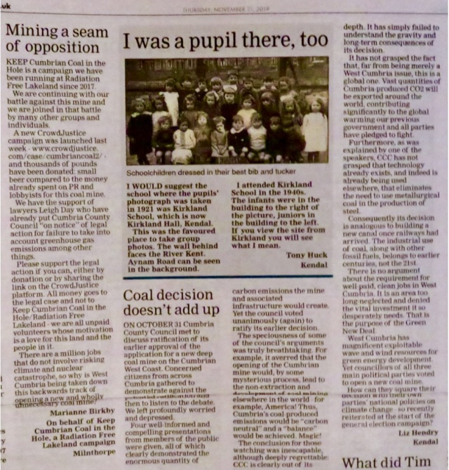 Letters in the Westmorland Gazette 21.11.19